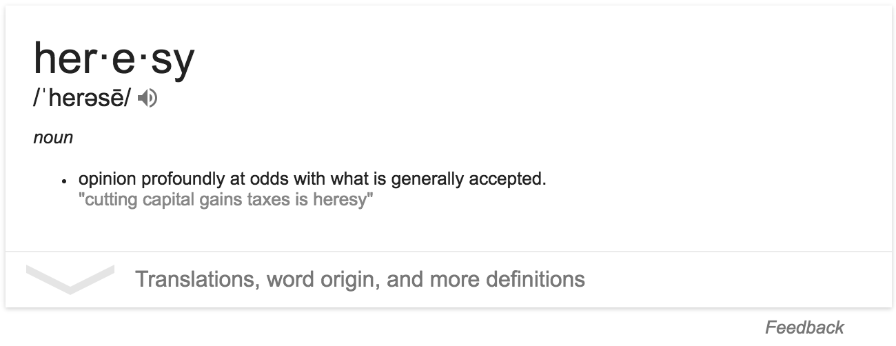 Heresy, the dictionary definition