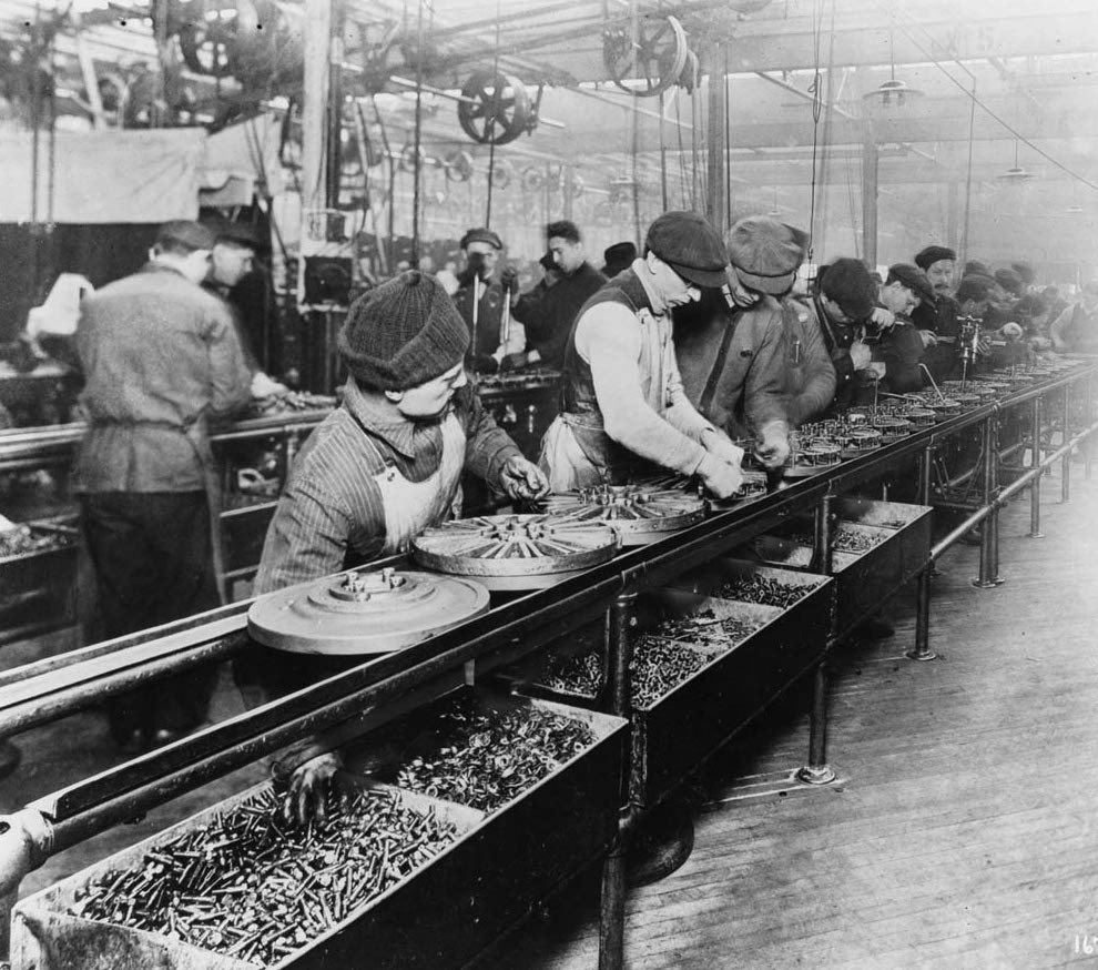 Assembly line in factory